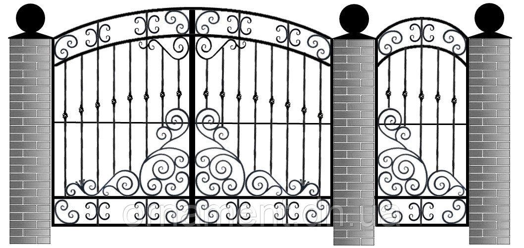 Ворота кованые зашитые профнастилом M175PR Эконом