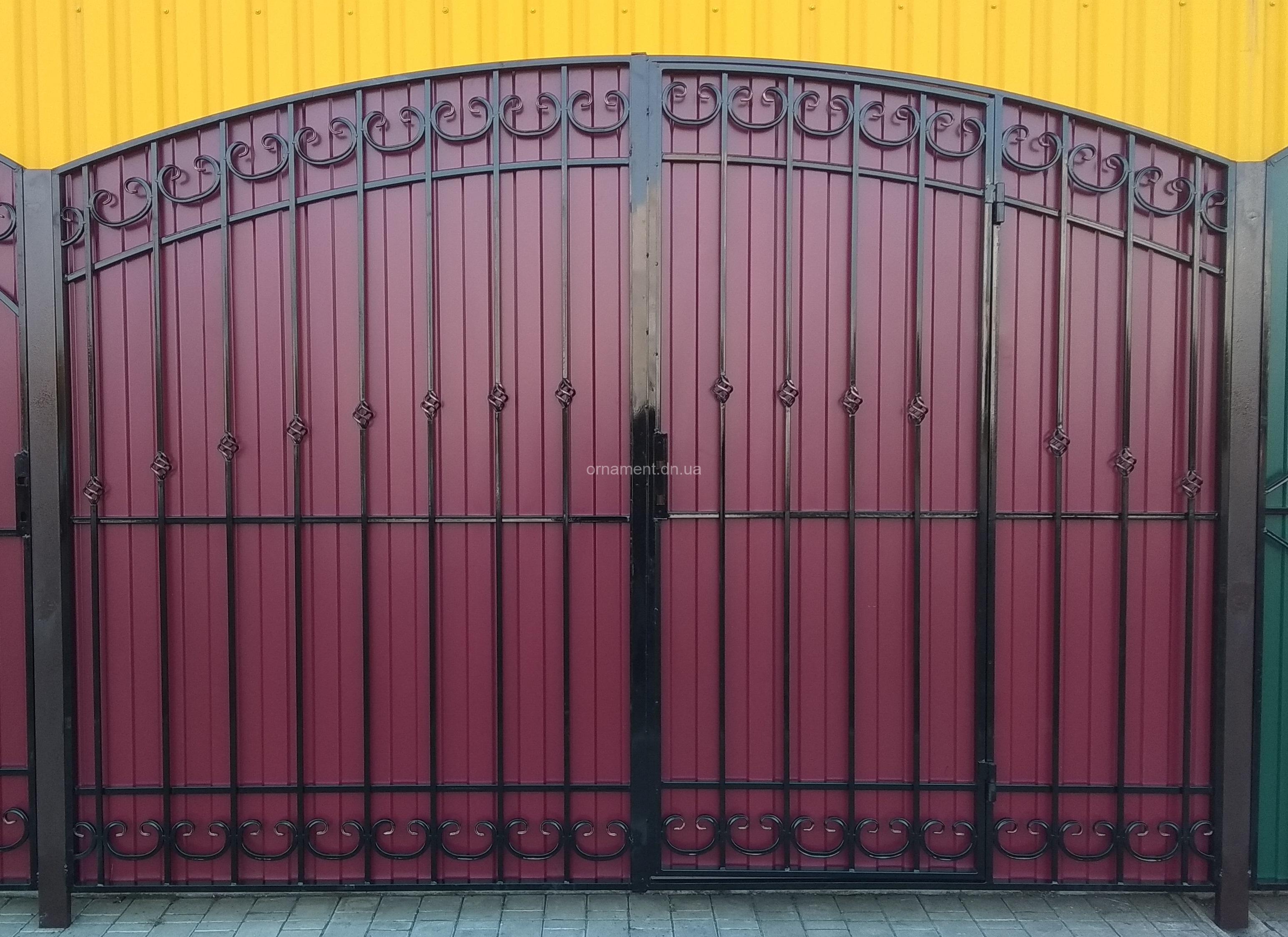 Ворота кованые «Ажур» калитка встроенная (без монтажа и столбов)